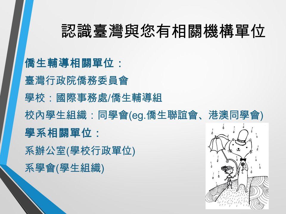 認識臺灣與您有相關機構單位 僑生輔導相關單位: 臺灣行政院僑務委員會 學校:國際事務處 / 僑生輔導組 校內學生組織:同學會 (eg.