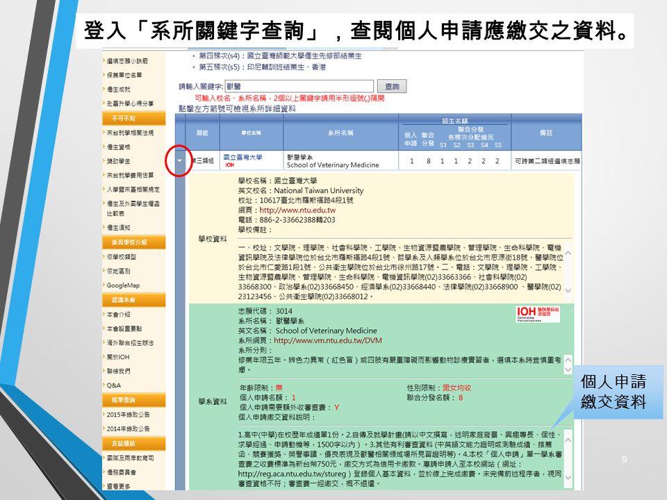 9 登入「系所關鍵字查詢」,查閱個人申請應繳交之資料。 個人申請 繳交資料