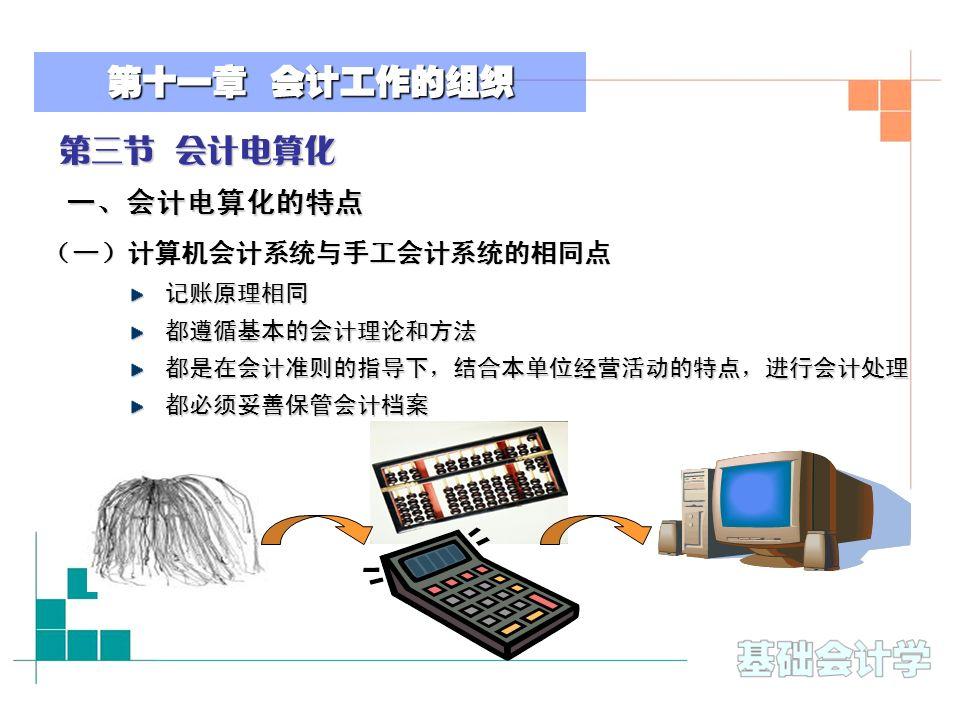 第十一章 会计工作的组织 第三节 会计电算化 一、会计电算化的特点 (一)计算机会计系统与手工会计系统的相同点 记账原理相同都遵循基本的会计理论和方法都是在会计准则的指导下,结合本单位经营活动的特点,进行会计处理都必须妥善保管会计档案