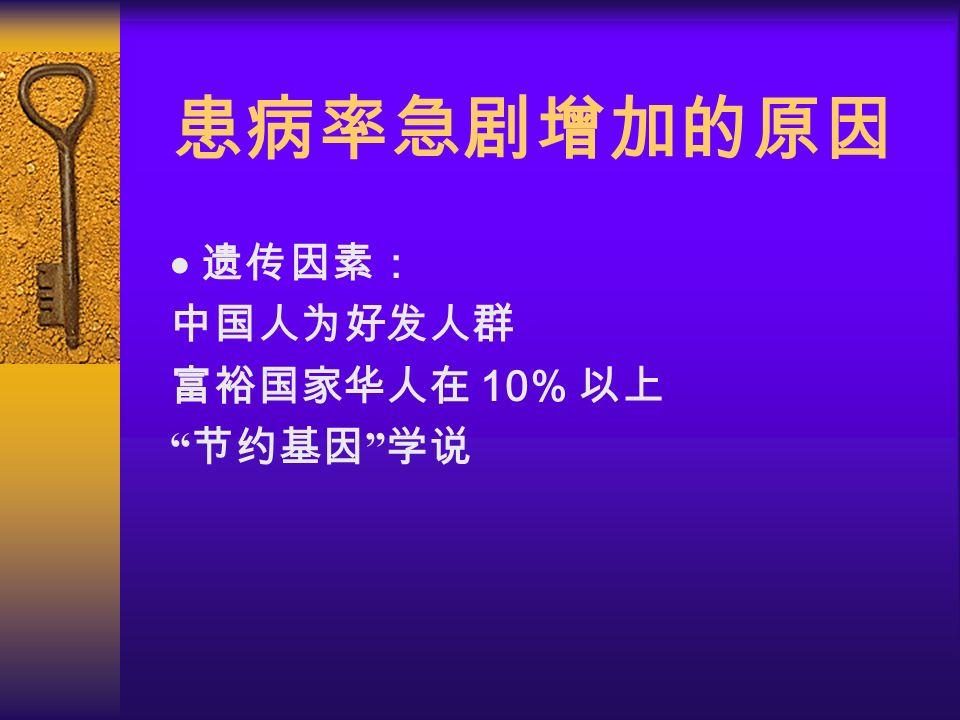 患病率急剧增加的原因   遗传因素:  中国人为好发人群  富裕国家华人在 10% 以上  节约基因 学说
