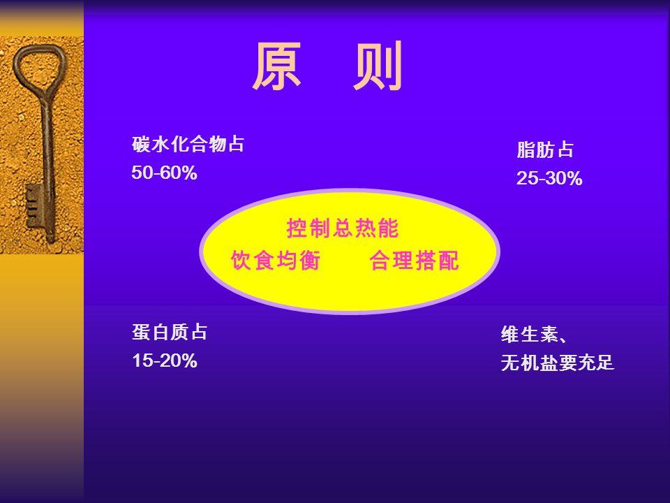 维生素、 无机盐要充足 原 则 蛋白质占 15-20% 脂肪占 25-30% 碳水化合物占 50-60% 控制总热能 饮食均衡 合理搭配