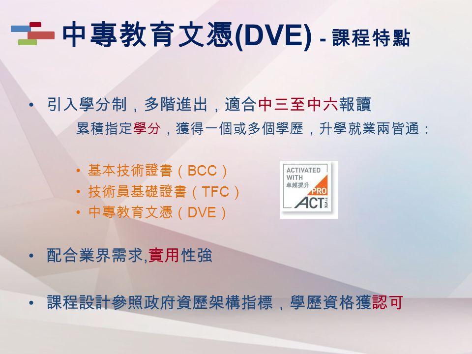 引入學分制,多階進出,適合中三至中六報讀 累積指定學分,獲得一個或多個學歷,升學就業兩皆通: 基本技術證書( BCC ) 技術員基礎證書( TFC ) 中專教育文憑( DVE ) 配合業界需求, 實用性強 課程設計參照政府資歷架構指標,學歷資格獲認可 中專教育文憑 (DVE) - 課程特點