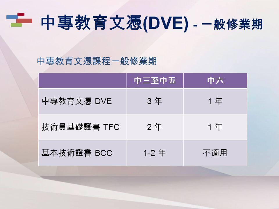 中專教育文憑課程一般修業期 中專教育文憑 (DVE) - 一般修業期 中三至中五中六 中專教育文憑 DVE3 年3 年 1 年1 年 技術員基礎證書 TFC2 年2 年 1 年1 年 基本技術證書 BCC1-2 年不適用