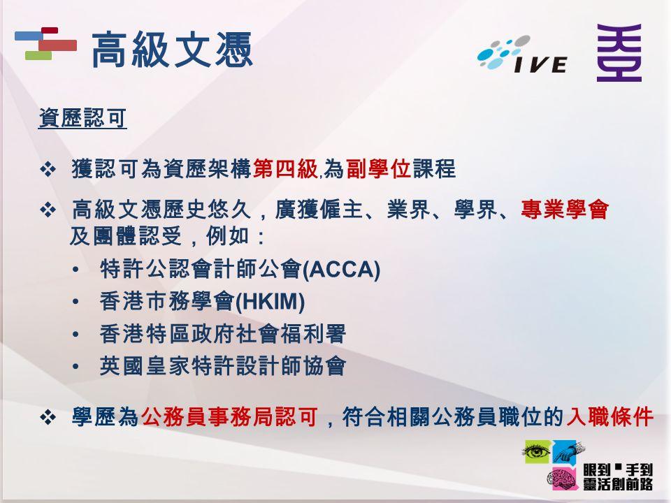 資歷認可  獲認可為資歷架構第四級﹐為副學位課程  高級文憑歷史悠久,廣獲僱主、業界、學界、專業學會 及團體認受,例如: 特許公認會計師公會 (ACCA) 香港市務學會 (HKIM) 香港特區政府社會福利署 英國皇家特許設計師協會  學歷為公務員事務局認可,符合相關公務員職位的入職條件 高級文憑