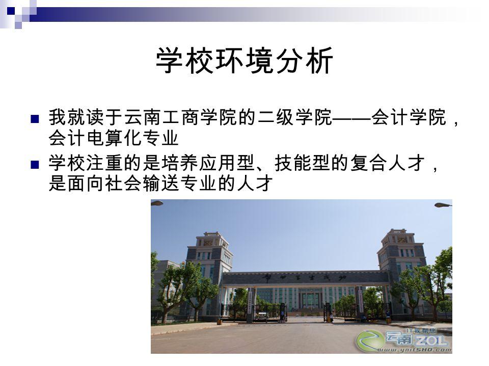 学校环境分析 我就读于云南工商学院的二级学院 —— 会计学院, 会计电算化专业 学校注重的是培养应用型、技能型的复合人才, 是面向社会输送专业的人才