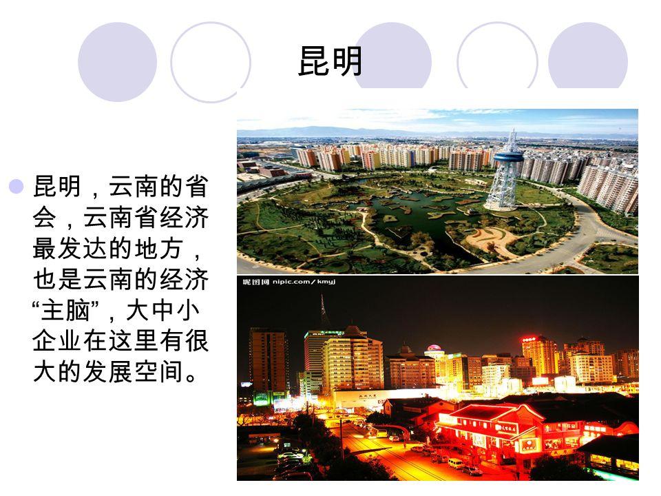 昆明 昆明,云南的省 会,云南省经济 最发达的地方, 也是云南的经济 主脑 ,大中小 企业在这里有很 大的发展空间。