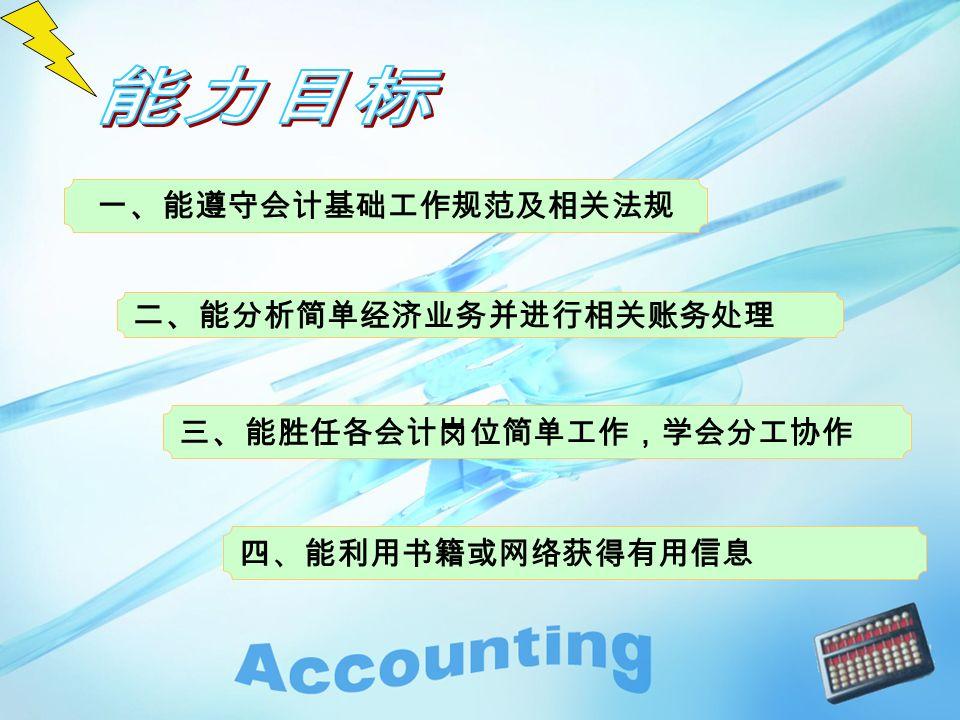 二、能分析简单经济业务并进行相关账务处理 四、能利用书籍或网络获得有用信息 一、能遵守会计基础工作规范及相关法规 三、能胜任各会计岗位简单工作,学会分工协作