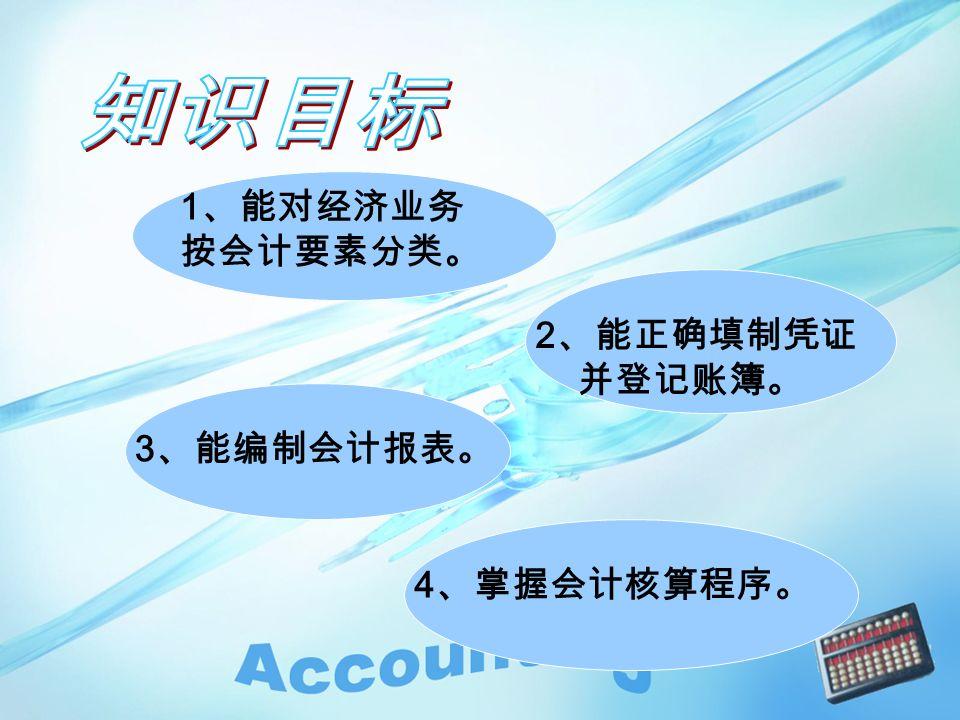 1 、能对经济业务 按会计要素分类。 2 、能正确填制凭证 并登记账簿。 3 、能编制会计报表。 4 、掌握会计核算程序。