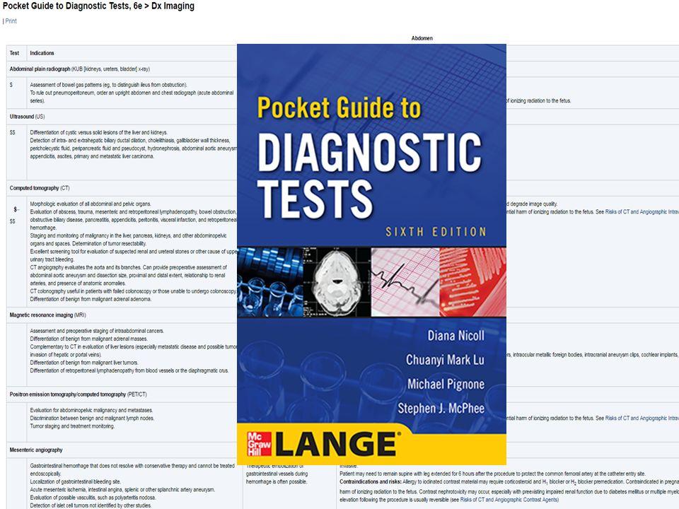 诊断测试 Diagnostic Tests :通过不同的诊断方法: 药物、微生物、影像、心电图等,帮助读者快速形成 对疾病的诊断。