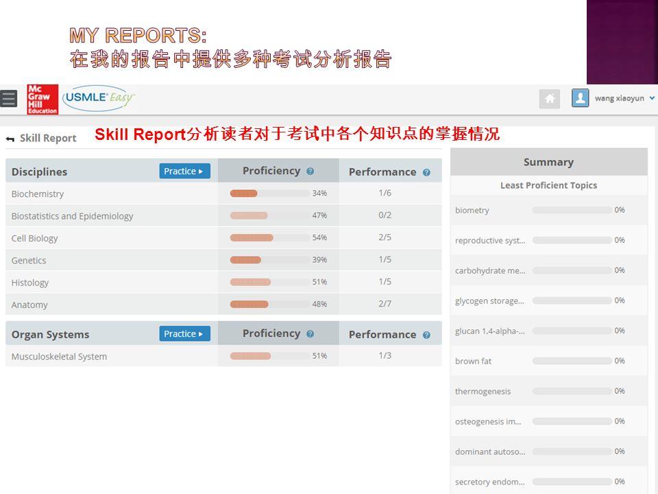 Skill Report 分析读者对于考试中各个知识点的掌握情况