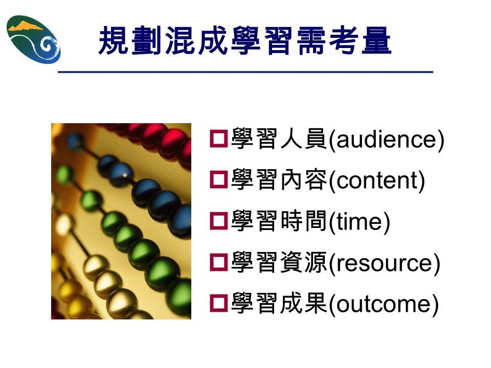 規劃混成學習需考量  學習人員 (audience)  學習內容 (content)  學習時間 (time)  學習資源 (resource)  學習成果 (outcome)
