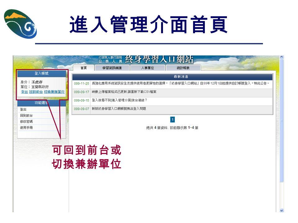 進入管理介面首頁 可回到前台或 切換兼辦單位