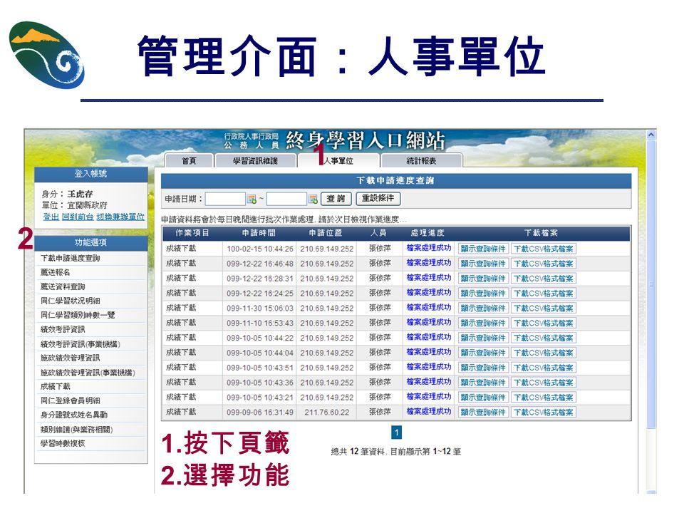 管理介面:人事單位 1 2 1. 按下頁籤 2. 選擇功能