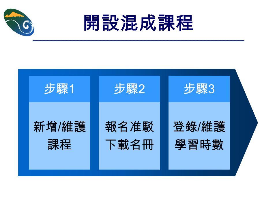 開設混成課程 新增 / 維護 課程 步驟 1 步驟 2 報名准駁 下載名冊 步驟 3 登錄 / 維護 學習時數