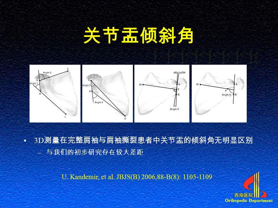 Orthopedic Department 关节盂倾斜角 3D 测量在完整肩袖与肩袖撕裂患者中关节盂的倾斜角无明显区别 – 与我们的初步研究存在较大差距 U.