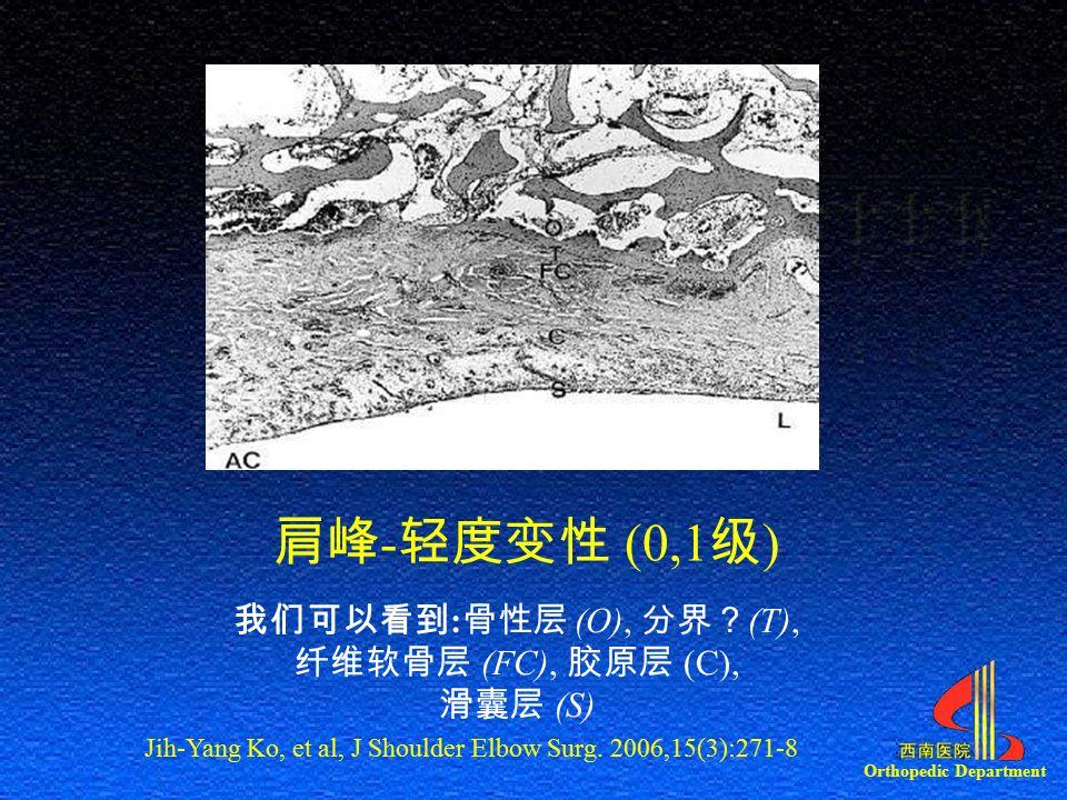 Orthopedic Department 肩峰 - 轻度变性 (0,1 级 ) 我们可以看到 : 骨性层 (O), 分界? (T), 纤维软骨层 (FC), 胶原层 (C), 滑囊层 (S) Jih-Yang Ko, et al, J Shoulder Elbow Surg.