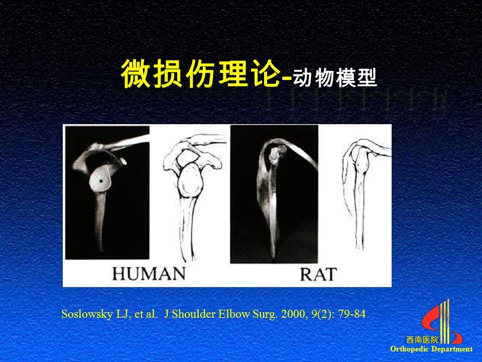 Orthopedic Department 微损伤理论 - 动物模型 Soslowsky LJ, et al. J Shoulder Elbow Surg. 2000, 9(2): 79-84