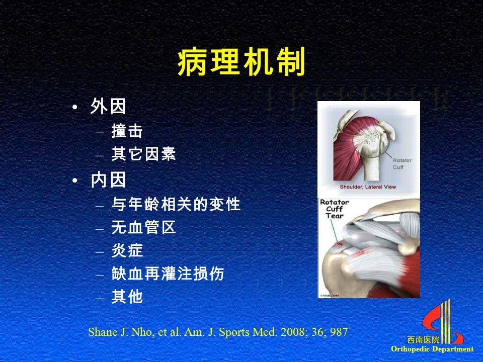 Orthopedic Department 病理机制 外因 – 撞击 – 其它因素 内因 – 与年龄相关的变性 – 无血管区 – 炎症 – 缺血再灌注损伤 – 其他 Shane J.