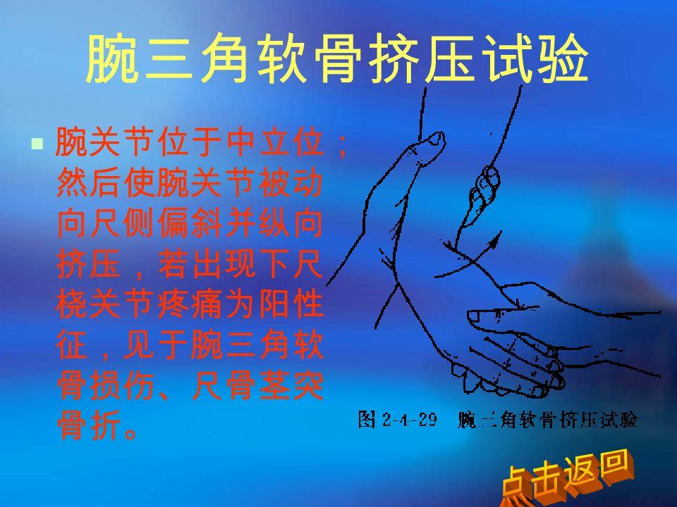 腕三角软骨挤压试验  腕关节位于中立位; 然后使腕关节被动 向尺侧偏斜并纵向 挤压,若出现下尺 桡关节疼痛为阳性 征,见于腕三角软 骨损伤、尺骨茎突 骨折。