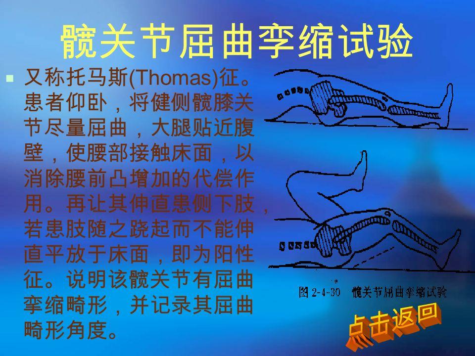 髋关节屈曲孪缩试验  又称托马斯 (Thomas) 征。 患者仰卧,将健侧髋膝关 节尽量屈曲,大腿贴近腹 壁,使腰部接触床面,以 消除腰前凸增加的代偿作 用。再让其伸直患侧下肢, 若患肢随之跷起而不能伸 直平放于床面,即为阳性 征。说明该髋关节有屈曲 挛缩畸形,并记录其屈曲 畸形角度。