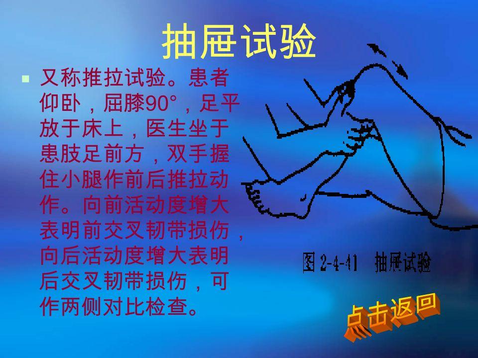抽屉试验  又称推拉试验。患者 仰卧,屈膝 90° ,足平 放于床上,医生坐于 患肢足前方,双手握 住小腿作前后推拉动 作。向前活动度增大 表明前交叉韧带损伤, 向后活动度增大表明 后交叉韧带损伤,可 作两侧对比检查。