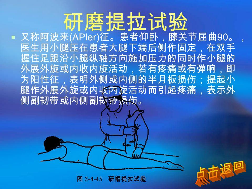 研磨提拉试验  又称阿波来 (APler) 征。患者仰卧,膝关节屈曲 90 。, 医生用小腿压在患者大腿下端后侧作固定,在双手 握住足跟沿小腿纵轴方向施加压力的同时作小腿的 外展外旋或内收内旋活动,若有疼痛或有弹响,即 为阳性征,表明外侧或内侧的半月板损伤;提起小 腿作外展外旋或内收内旋活动而引起疼痛,表示外 侧副韧带或内侧副韧带损伤。