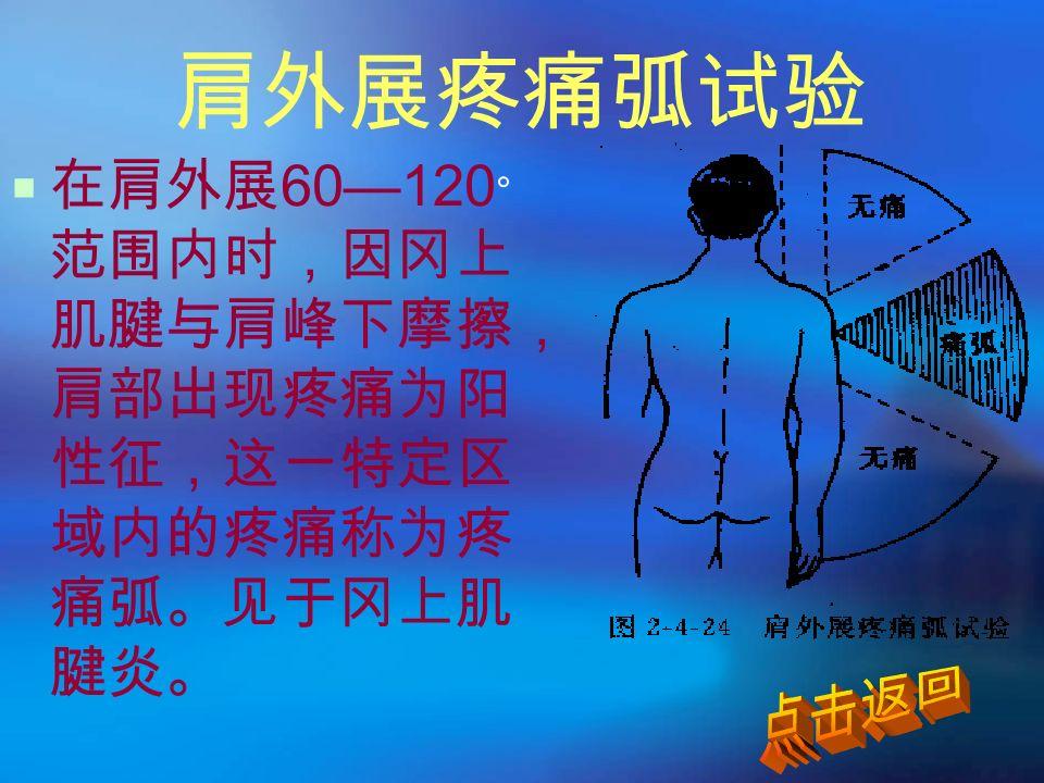 肩外展疼痛弧试验  在肩外展 60—120 ° 范围内时,因冈上 肌腱与肩峰下摩擦, 肩部出现疼痛为阳 性征,这一特定区 域内的疼痛称为疼 痛弧。见于冈上肌 腱炎。