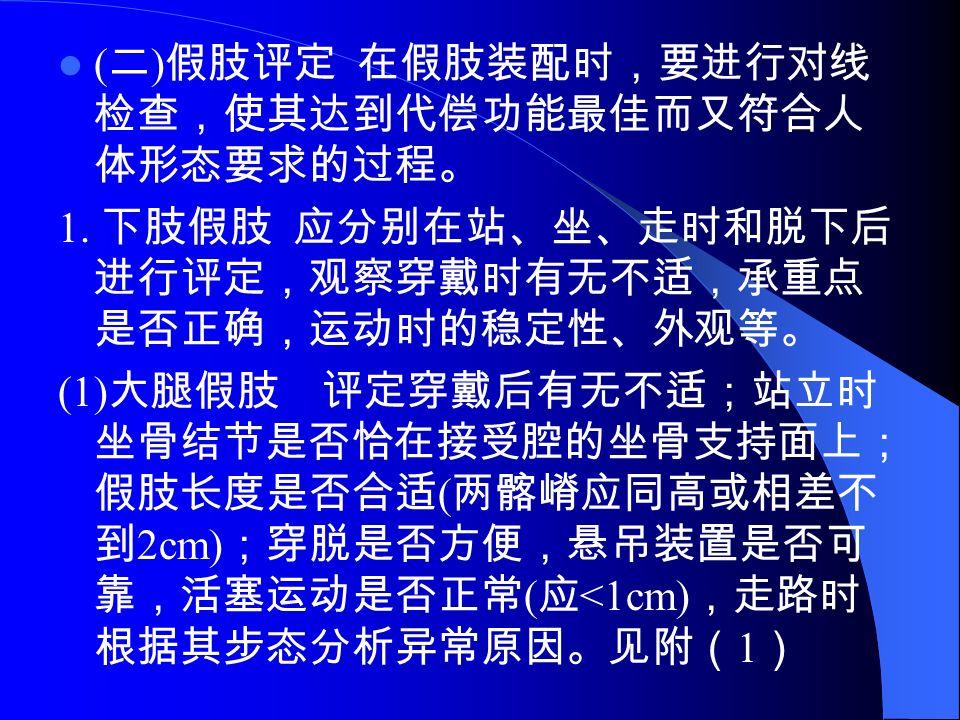 ( 二 ) 假肢评定 在假肢装配时,要进行对线 检查,使其达到代偿功能最佳而又符合人 体形态要求的过程。 1.