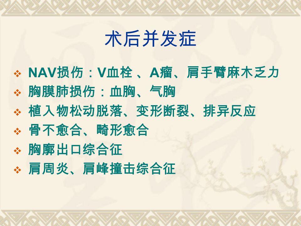 术后并发症  NAV 损伤: V 血栓 、 A 瘤、肩手臂麻木乏力  胸膜肺损伤:血胸、气胸  植入物松动脱落、变形断裂、排异反应  骨不愈合、畸形愈合  胸廓出口综合征  肩周炎、肩峰撞击综合征