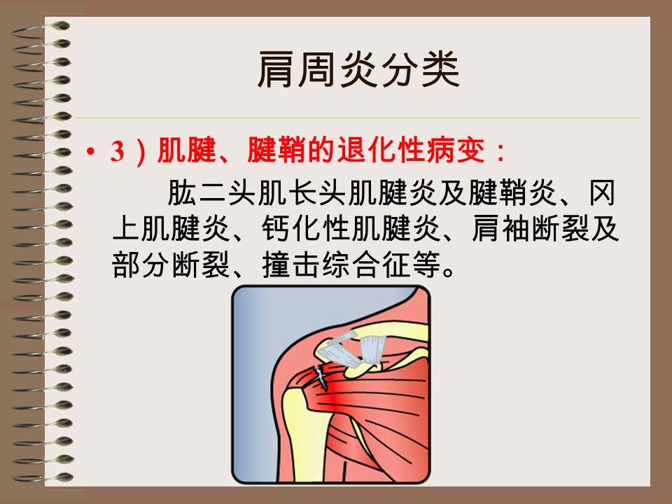 肩周炎分类 3 )肌腱、腱鞘的退化性病变: 肱二头肌长头肌腱炎及腱鞘炎、冈 上肌腱炎、钙化性肌腱炎、肩袖断裂及 部分断裂、撞击综合征等。