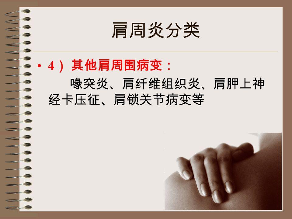 肩周炎分类 4 ) 其他肩周围病变: 喙突炎、肩纤维组织炎、肩胛上神 经卡压征、肩锁关节病变等