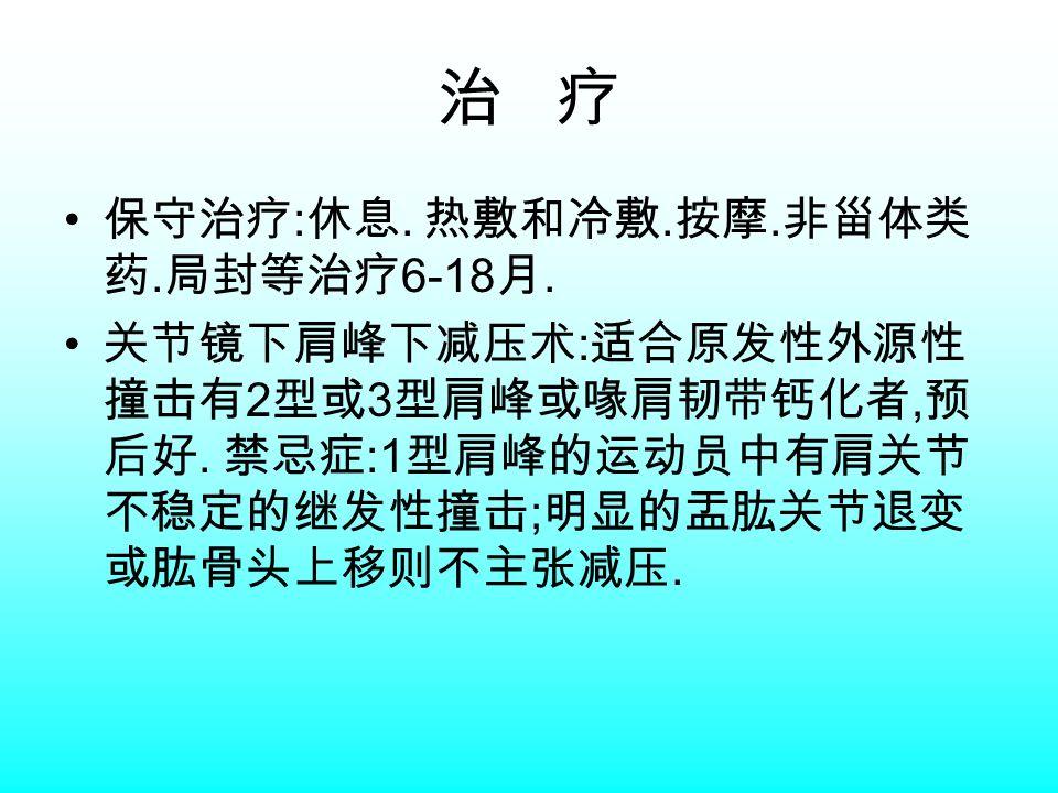 治 疗 保守治疗 : 休息. 热敷和冷敷. 按摩. 非甾体类 药. 局封等治疗 6-18 月.