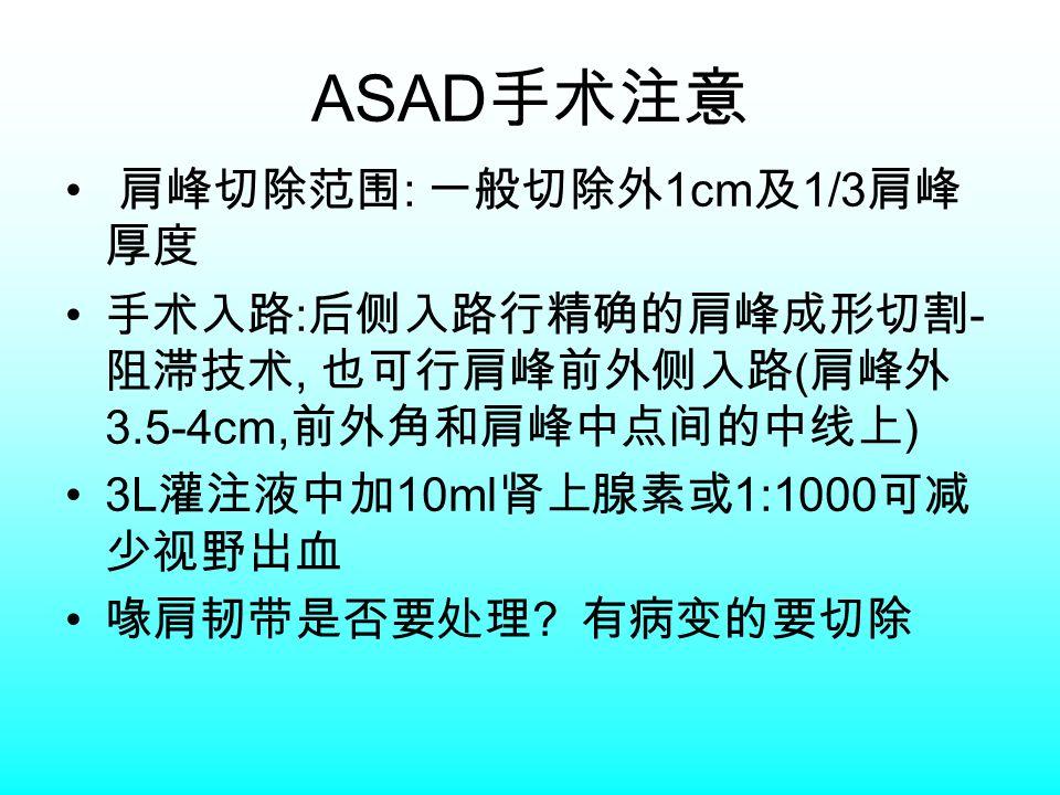 ASAD 手术注意 肩峰切除范围 : 一般切除外 1cm 及 1/3 肩峰 厚度 手术入路 : 后侧入路行精确的肩峰成形切割 - 阻滞技术, 也可行肩峰前外侧入路 ( 肩峰外 3.5-4cm, 前外角和肩峰中点间的中线上 ) 3L 灌注液中加 10ml 肾上腺素或 1:1000 可减 少视野出血 喙肩韧带是否要处理 .