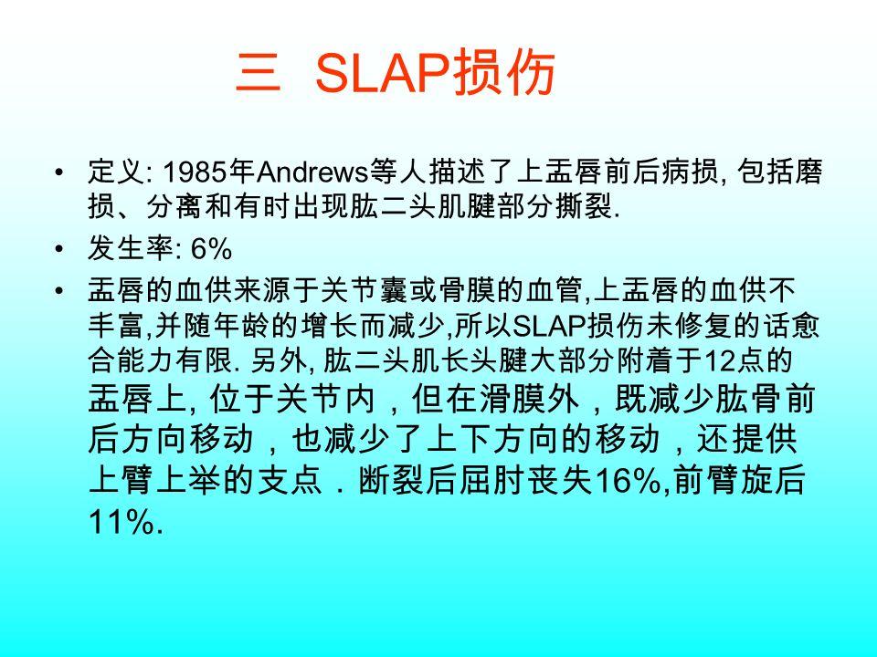 三 SLAP 损伤 定义 : 1985 年 Andrews 等人描述了上盂唇前后病损, 包括磨 损、分离和有时出现肱二头肌腱部分撕裂.