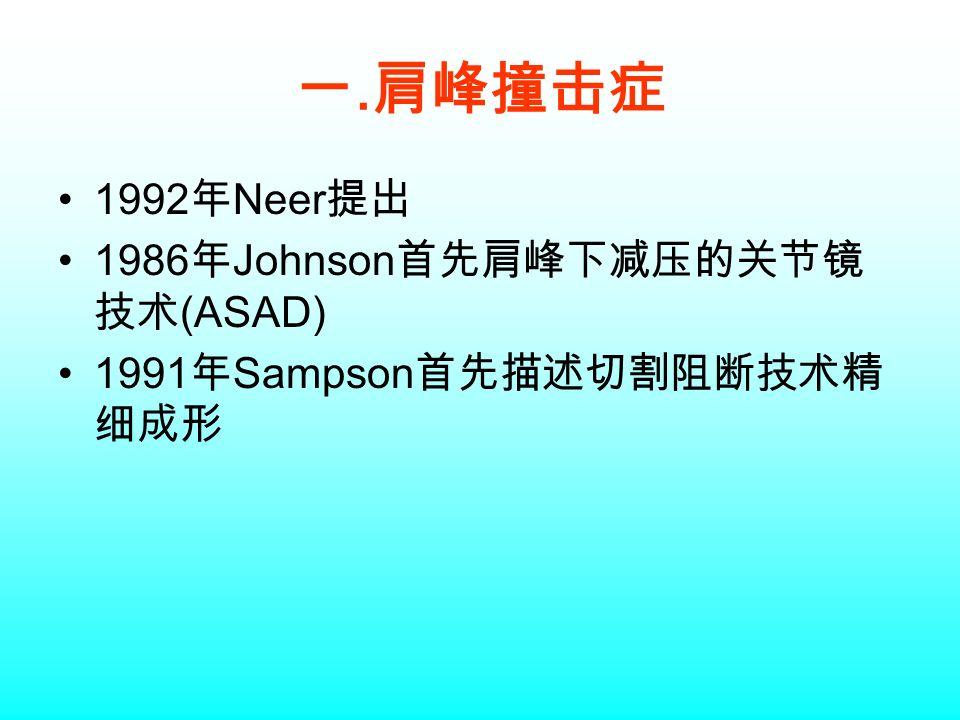 一. 肩峰撞击症 1992 年 Neer 提出 1986 年 Johnson 首先肩峰下减压的关节镜 技术 (ASAD) 1991 年 Sampson 首先描述切割阻断技术精 细成形