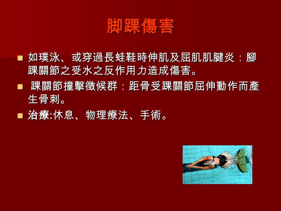 脚踝傷害 如璞泳、或穿過長蛙鞋時伸肌及屈肌肌腱炎:腳 踝關節之受水之反作用力造成傷害。 如璞泳、或穿過長蛙鞋時伸肌及屈肌肌腱炎:腳 踝關節之受水之反作用力造成傷害。 踝關節撞擊徵候群:距骨受踝關節屈伸動作而產 生骨刺。 踝關節撞擊徵候群:距骨受踝關節屈伸動作而產 生骨刺。 治療 : 休息、物理療法、手術。 治療 : 休息、物理療法、手術。