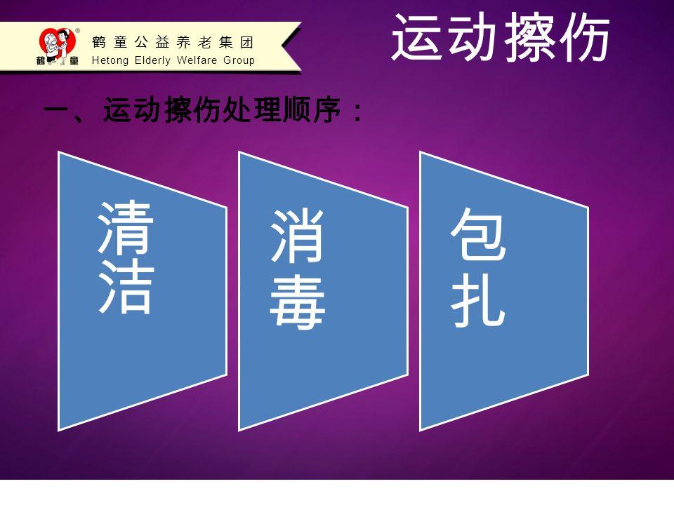 Hetong Elderly Welfare Group 鹤童公益养老集团 运动擦伤 一、运动擦伤处理顺序: 消毒消毒 包扎包扎