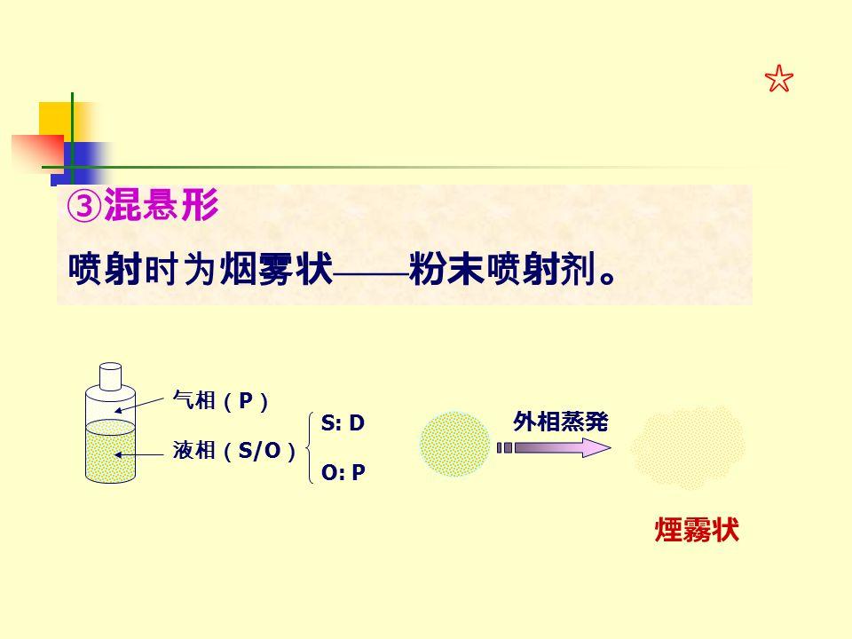 ③混悬形 喷射时为烟雾状 —— 粉末喷射剂。 气相( P ) 液相( S/O ) S: D O: P 外相蒸発 煙霧状 ☆