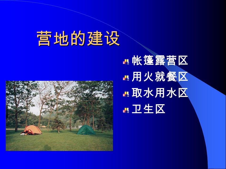 不适合做营地的地方 (1) 、河滩上或者河谷中央 —— 放水或 者取水不方便山洪 (2) 、河流转弯处的内侧 —— 洪水 (3) 、山顶迎风面 —— 风大、取水不 方便 (4) 、谷底低洼处 —— 潮湿、落石 (5) 、枯木或者蜂巢底下 —— 落木、 野蜂袭击 (6) 、动物觅水点 —— 动物骚扰