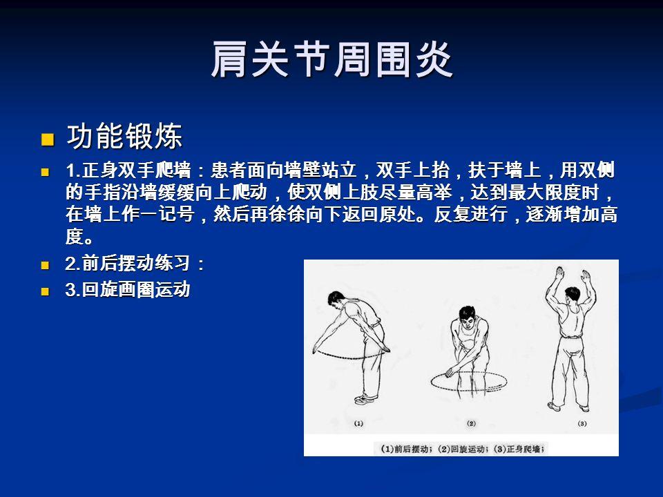 肩关节周围炎 功能锻炼 功能锻炼 1.