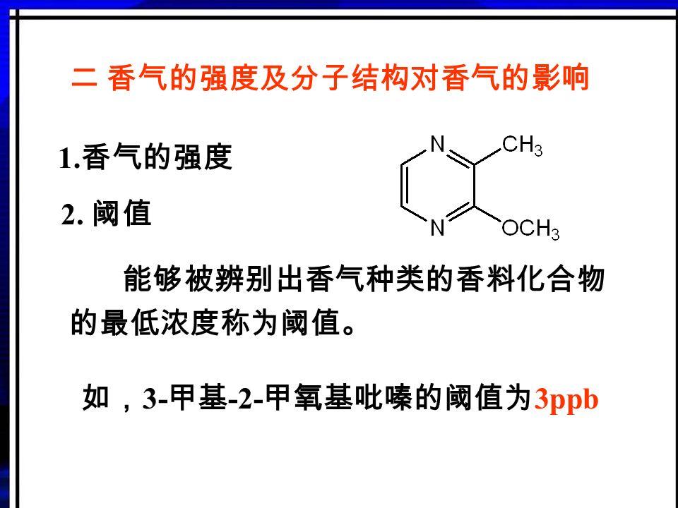 第一节 概 述 分类: 天然香料(动物性和植物性香料) 单离香料 合成香料 调和香料 1. 香料:又称香原料,是一种能被嗅感嗅出 气味或味感品出香味的物质,是用 于调制香精的原料。