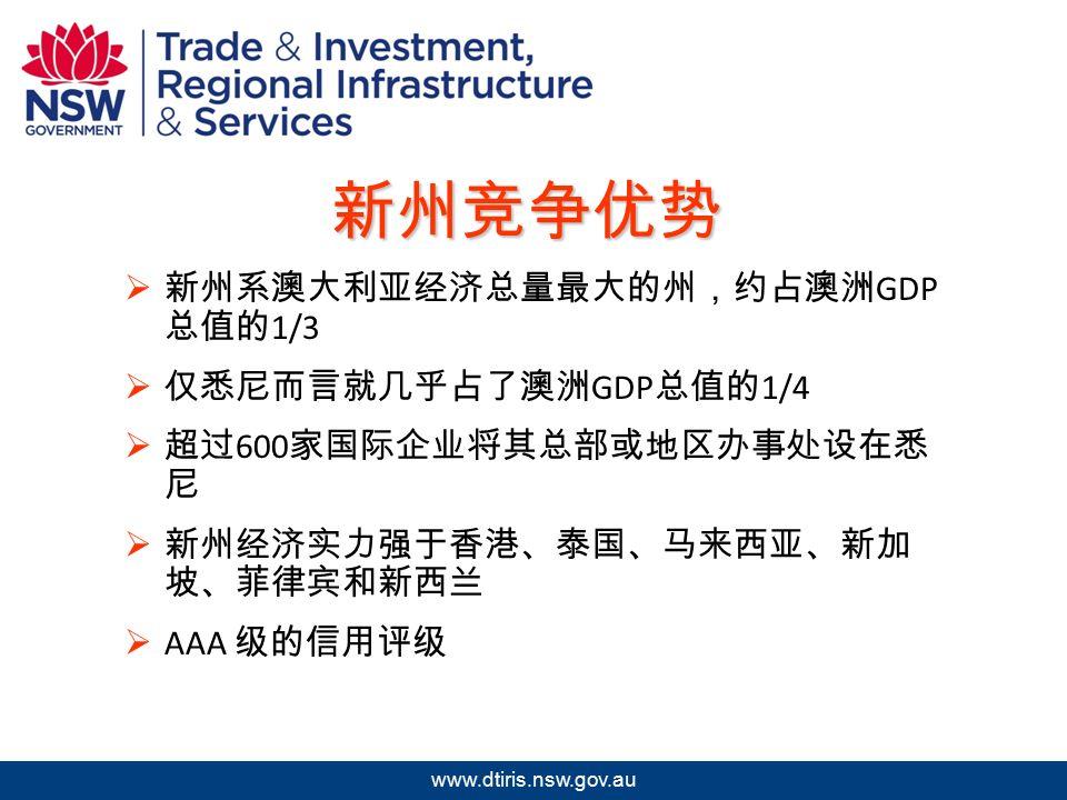 2009 年北京澳中矿业投资研讨会 www.dtiris.nsw.gov.au 新州竞争优势  新州系澳大利亚经济总量最大的州,约占澳洲 GDP 总值的 1/3  仅悉尼而言就几乎占了澳洲 GDP 总值的 1/4  超过 600 家国际企业将其总部或地区办事处设在悉 尼  新州经济实力强于香港、泰国、马来西亚、新加 坡、菲律宾和新西兰  AAA 级的信用评级