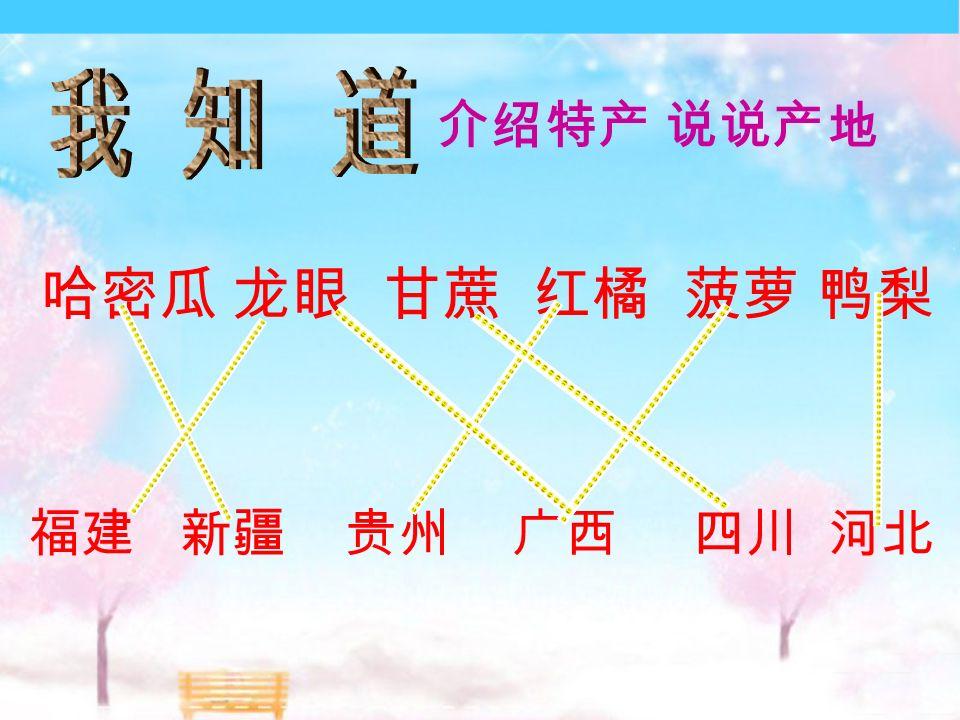 哈密瓜 龙眼 甘蔗 红橘 菠萝 鸭梨 福建 新疆 贵州 广西 四川 河北 介绍特产 说说产地