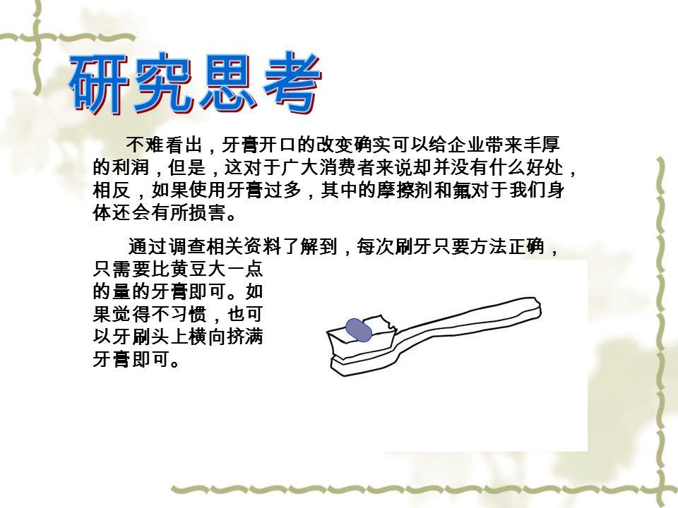 不难看出,牙膏开口的改变确实可以给企业带来丰厚 的利润,但是,这对于广大消费者来说却并没有什么好处, 相反,如果使用牙膏过多,其中的摩擦剂和氟对于我们身 体还会有所损害。 通过调查相关资料了解到,每次刷牙只要方法正确, 只需要比黄豆大一点 的量的牙膏即可。如 果觉得不习惯,也可 以牙刷头上横向挤满 牙膏即可。