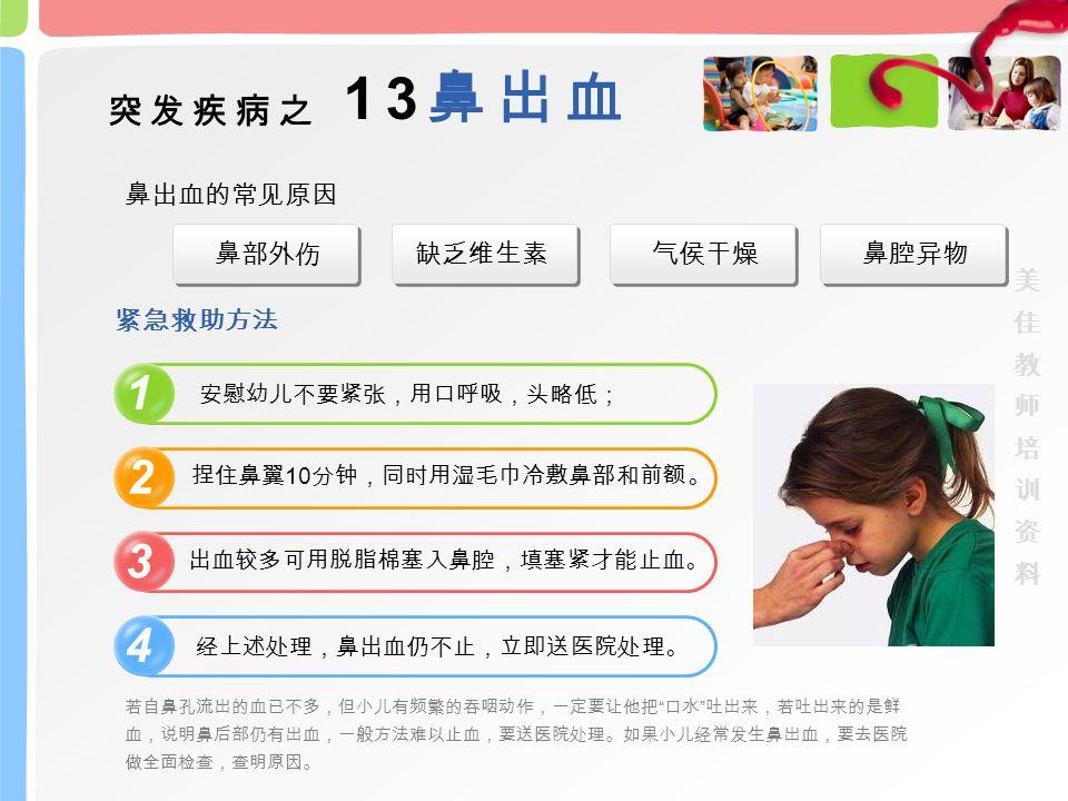 若自鼻孔流出的血已不多,但小儿有频繁的吞咽动作,一定要让他把 口水 吐出来,若吐出来的是鲜 血,说明鼻后部仍有出血,一般方法难以止血,要送医院处理。如果小儿经常发生鼻出血,要去医院 做全面检查,查明原因。 突发疾病之 13 鼻出血 气侯干燥缺乏维生素鼻腔异物 鼻出血的常见原因 1 2 3 4 安慰幼儿不要紧张,用口呼吸,头略低; 捏住鼻翼 10 分钟,同时用湿毛巾冷敷鼻部和前额。 出血较多可用脱脂棉塞入鼻腔,填塞紧才能止血。 经上述处理,鼻出血仍不止,立即送医院处理。 鼻部外伤 紧急救助方法