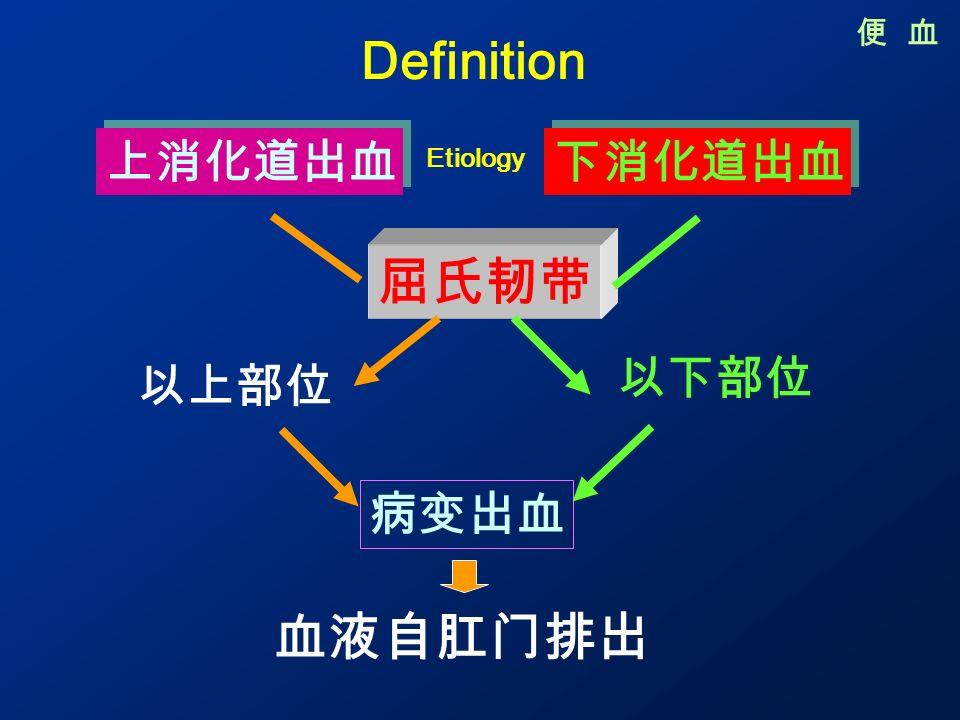 以上部位 便 血 Definition 上消化道出血 下消化道出血 屈氏韧带 以下部位 病变出血 血液自肛门排出 Etiology