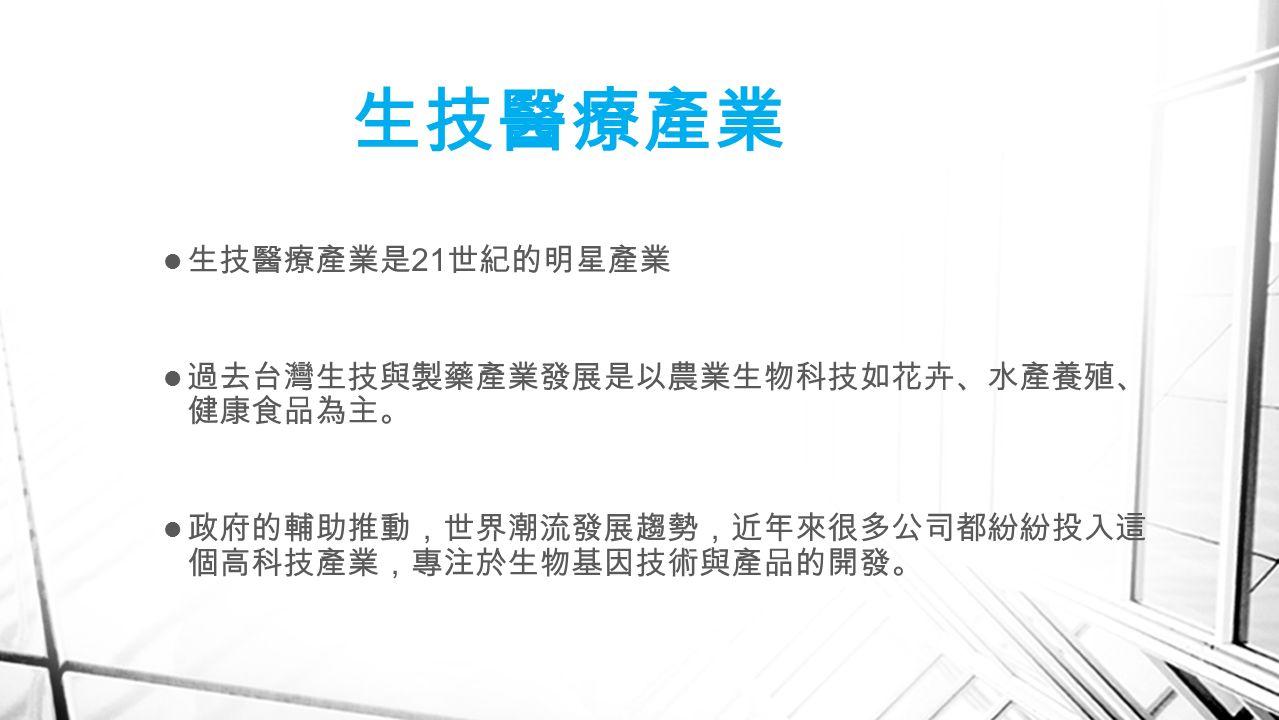生技醫療產業 生技醫療產業是 21 世紀的明星產業 過去台灣生技與製藥產業發展是以農業生物科技如花卉、水產養殖、 健康食品為主。 政府的輔助推動,世界潮流發展趨勢,近年來很多公司都紛紛投入這 個高科技產業,專注於生物基因技術與產品的開發。