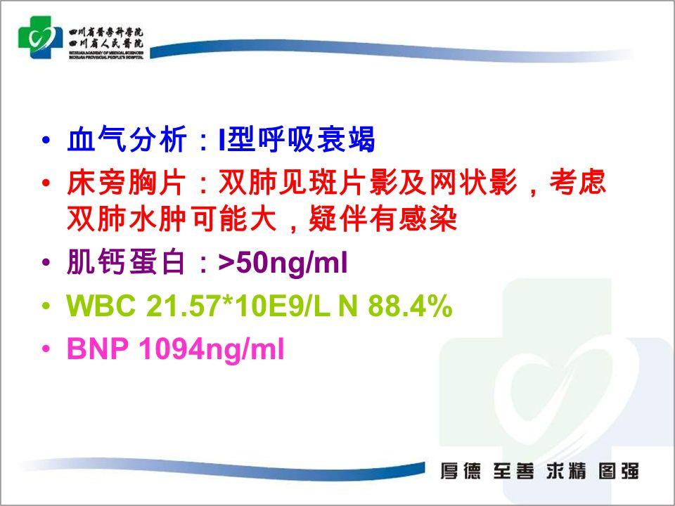 血气分析: I 型呼吸衰竭 床旁胸片:双肺见斑片影及网状影,考虑 双肺水肿可能大,疑伴有感染 肌钙蛋白: >50ng/ml WBC 21.57*10E9/L N 88.4% BNP 1094ng/ml