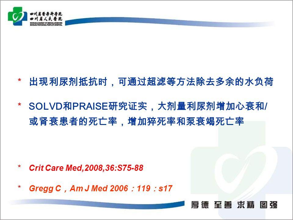 * 出现利尿剂抵抗时,可通过超滤等方法除去多余的水负荷 *SOLVD 和 PRAISE 研究证实,大剂量利尿剂增加心衰和 / 或肾衰患者的死亡率,增加猝死率和泵衰竭死亡率 *Crit Care Med,2008,36:S75-88 *Gregg C , Am J Med 2006 : 119 : s17