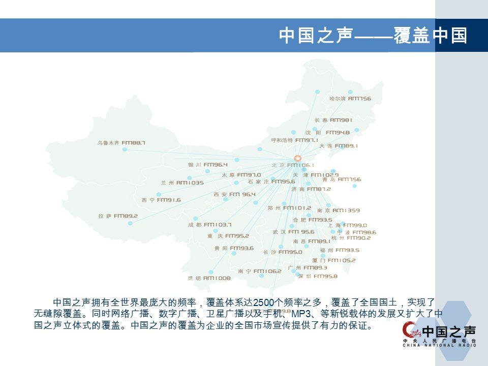 中国之声 —— 覆盖中国 中国之声拥有全世界最庞大的频率,覆盖体系达 2500 个频率之多,覆盖了全国国土,实现了 无缝隙覆盖。同时网络广播、数字广播、卫星广播以及手机、 MP3 、等新锐载体的发展又扩大了中 国之声立体式的覆盖。中国之声的覆盖为企业的全国市场宣传提供了有力的保证。